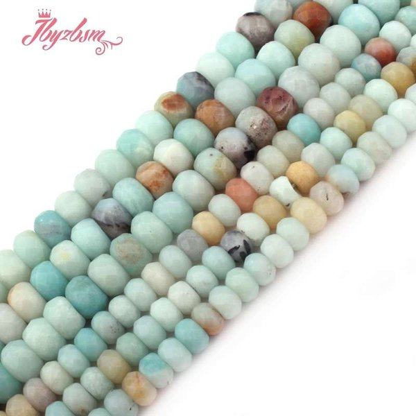 "3x6mm 4x8mm Faceted Mutil-Color Amazonite Stone Rondelle Heishi Spacer Bead for DIY Bracelet Jewelry Making 15""Free Shipping"