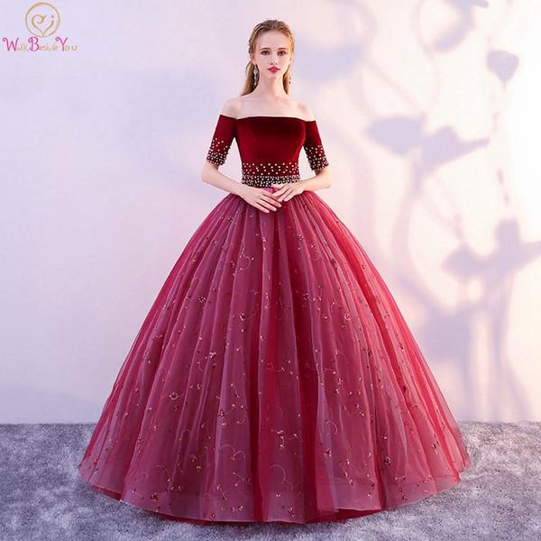 Vino rosso Quinceanera Dress 2019 senza spalline manica corta pavimento lunghezza Tulle Ball Gown Perle cristalli off spalla abito laurea