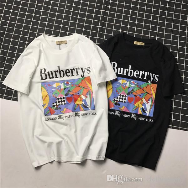 19ss Paris BBR multicoloridos Camisetas Crewneck warhorse Manga curta Tee de verão Colete respirável Moda Base de camisa Streetwear T-shirt ao ar livre