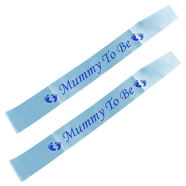 Newborn Baby Shoulder Strap Party Etiquette Belt Footprint Pattern Baby Shower Mummy To Be Blue White Decorate Supplies 1 8wtC1