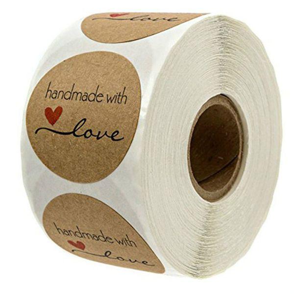 500 pcs / Roll Rodada Natural Kraft Handmade com Amor Adesivos para Decoração de Casamento Decoração Do Partido Adesivos Novo 2019
