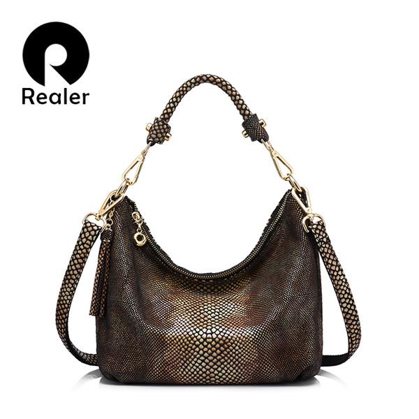 Bolsa de couro genuíno das mulheres borla bolsa de ombro fêmea pequena sacola de ouro python padrão mensageiro sacos de couro