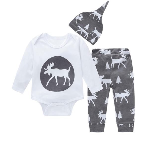 Autumn Baby Clothing Pieces Pants Set Sleeve Cartoon Romper Long 3 Animal Suit Hat Print
