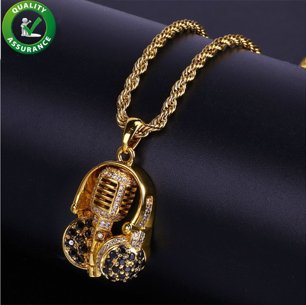 iced out chains pendant designer necklace mens gold hip hop jewelry luxury fashion diamond rapper chain pandora style charms rock headset