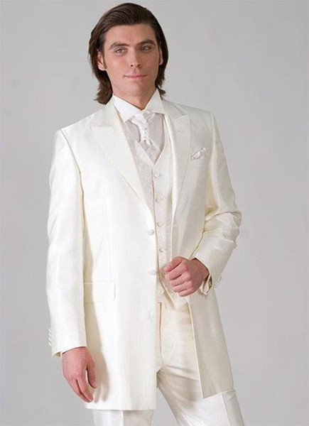 New Excellent Style Three Button Ivory Groom Tuxedos Peak Lapel Groomsmen Mens Wedding Dresses Prom Suits (Jacket+Pants+Vest+Tie) 621