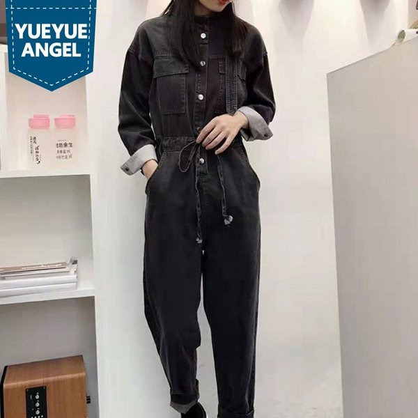 Euro Autumn Womens Cargo Denim Jumpsuits Long Sleeve Stand Collar High Waist Loose Fit Ankle Length Pants Female Casual Overalls