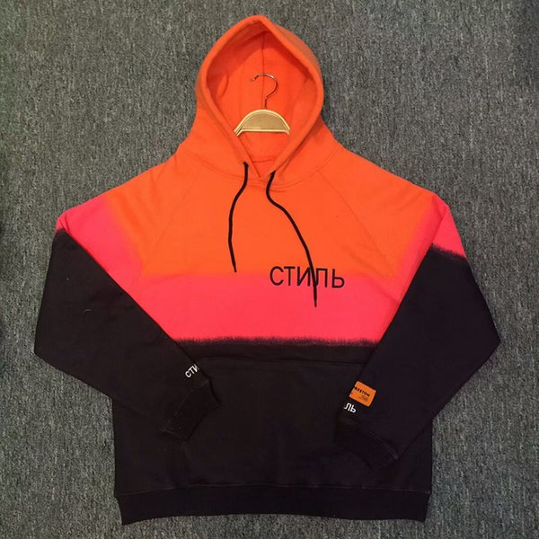 Heron Preston Hoodies Fashion Black Orange Color Stitched Heron Preston Sweatshirts HP Pullover 18 New DSNY Hoodie
