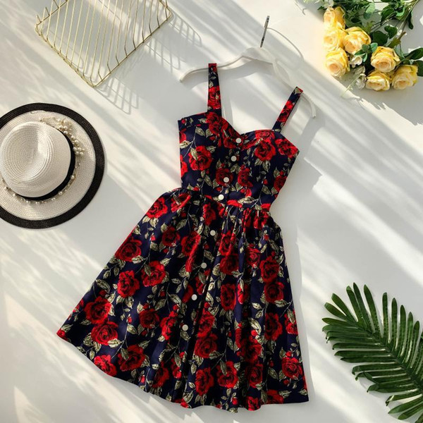 Boho 2019 Floral Print Vintage Spaghetti Strap Summer Mini Short Dress Party Polka Dot Casual Women Beach Holiday Retro Vestiods T5190606