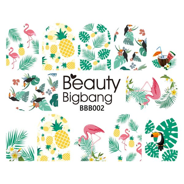 BeautyBigBang 1Sheet Nail Art Stickers Decals Designs Tropical Flamingo Pineapple Leaf Decoration For Nail Art Sticker