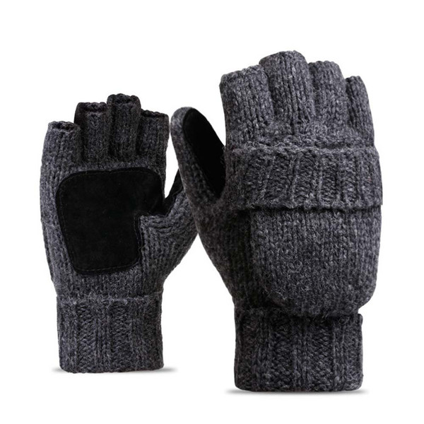 Men Women Warm Winter Gloves Solid Wool Knitting Half-finger Outdoor Cycling Gloves Fashion winter warm