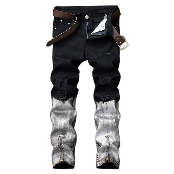 Mcikkny New Fashion Men's Hip Hop Denim Jeans Ripped Pleated Pants For Male Ankle Zipper