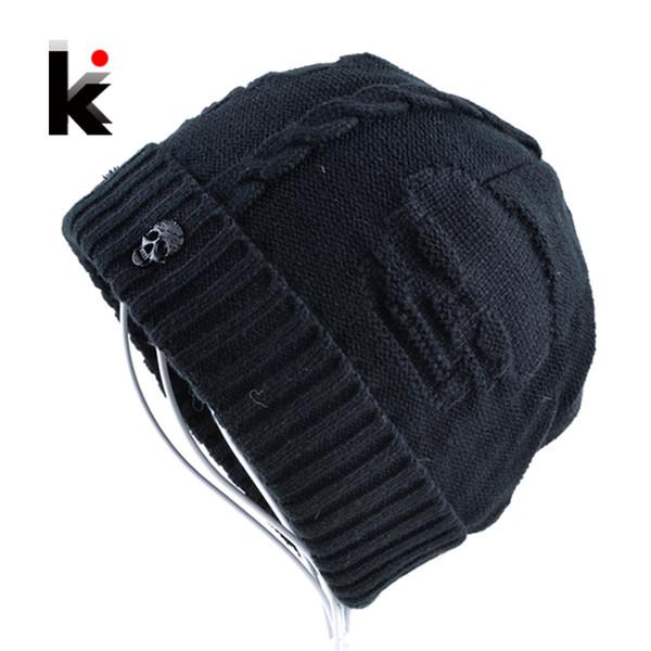 2017 Mens Skullies Winter Hat Beanies Knitted Wool Hip Hop Stocking Hat Plus Velvet Rasta Cap Skull Bonnet Hats For Men