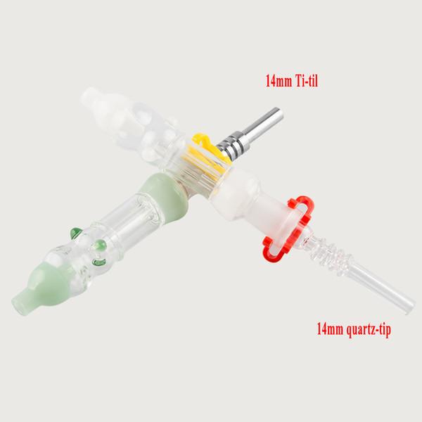 Miel Kit de paja con Gr2 titanio Consejo de uñas de cuarzo de 10 mm de 14 mm de miel paja plataformas petrolíferas de cristal del tubo de agua Bongs portátil fumadores