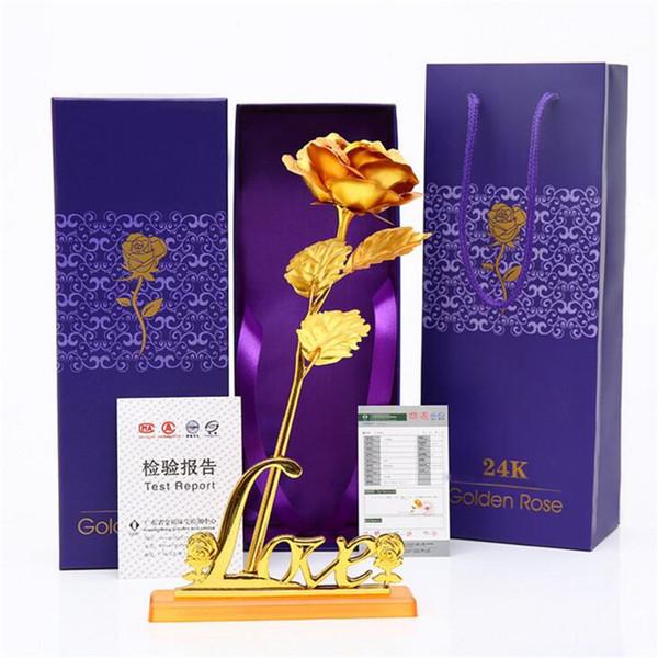 Los amantes de la hoja de oro de 24K florecen la rosa artificial con caja de regalo para el Día de San Valentín Día de la Madre de Gracias Flores decorativas de cumpleaños
