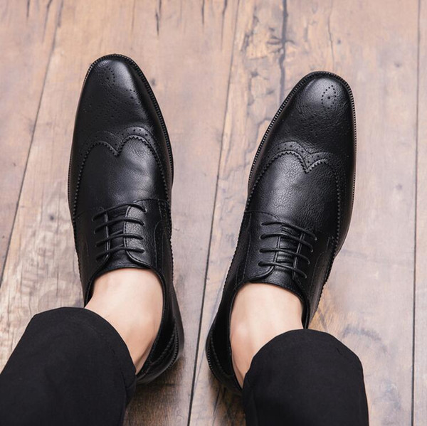 New Men Brogue Dress Shoes Luxury Italian Style Pointed Toe Formal ...