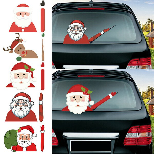 best selling Car Stickers Christmas Decoration Santa Claus High Quality 3D PVC Waving Car Stickers Styling Window Wiper Decals Rear Windshield Decoration