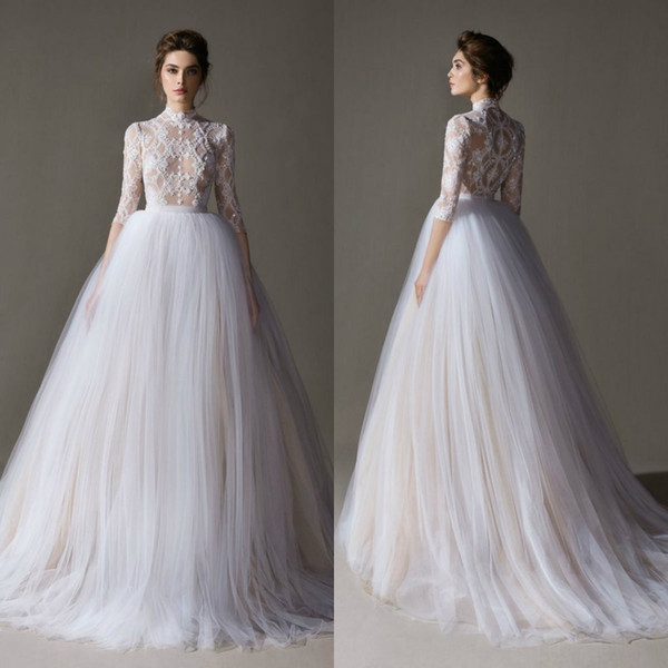 Ersa Atelier Bohemian Wedding Dresses Appliqued Lace A Line Sweep Train Illusion Beach Wedding Gowns Long Sleeve Boho Bridal Dress