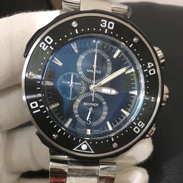 Big 45mm subacqueo ori vk cronografo al quarzo quadrante nero orologio da uomo cronometro cinturino in acciaio inossidabile
