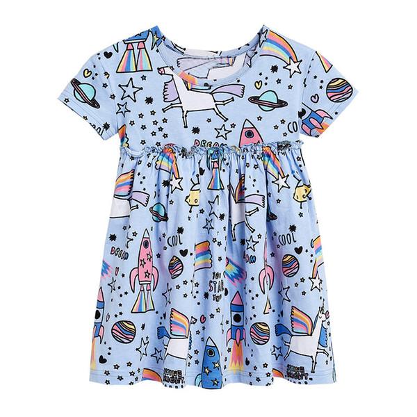 100% Cotton Girls Dresse Fantasy Cartoon Print With Pleated Desig Short Sleeve And Pleated Princess Dress Kid Designer Clothes Girls