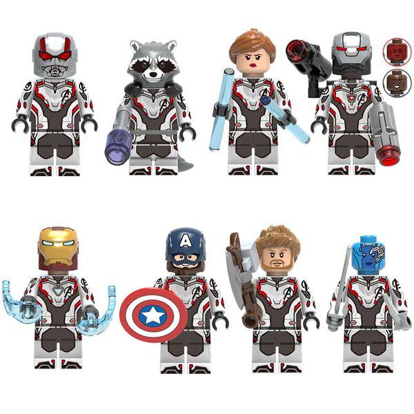 8pcs Avengers 4 Mini Toy Figure Iron Man Captain America Nebula Thor Ant-Man Rocket Raccoon Black Widow Superhero Figure Building Block Toy