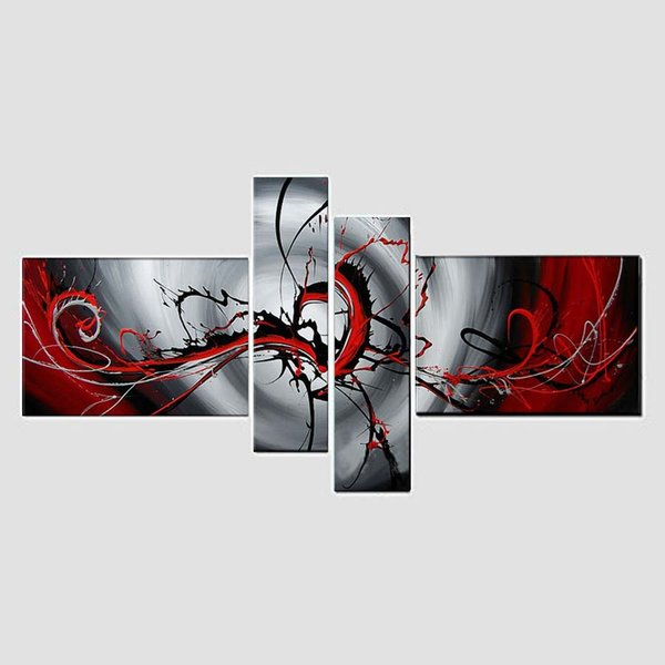 100%hand-painted abstract oil painting wall art The Red passion on canvas 4pcs/set wall art for live room decor (no frame), CX401