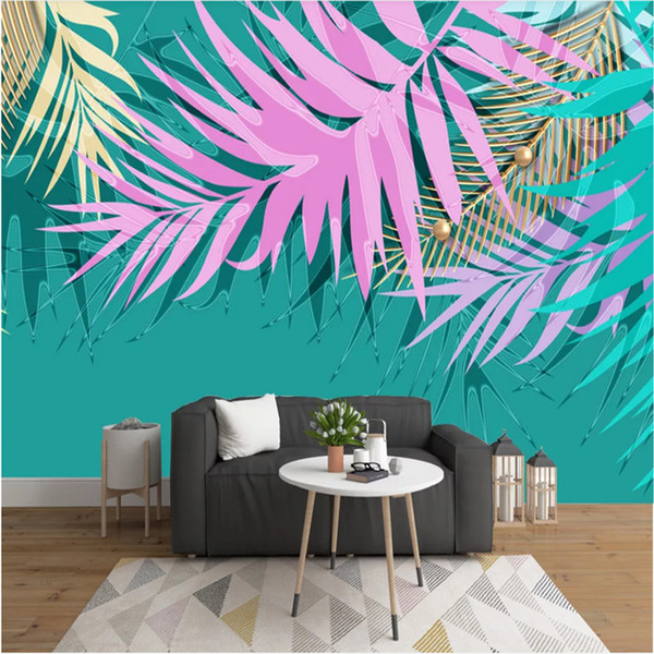 Custom Modern Simple Hand Painted Watercolor Tropical Plants Leaves Blue Background Mural Wallpaper 3D Wall Papers Home Decor