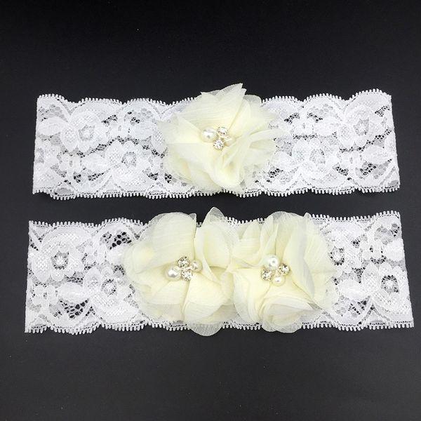 Bridal Garter Lace with Floral Ivory Chiffon Flowers Wedding Garters For Bride Vintage Traditional Bridal Leg Garter