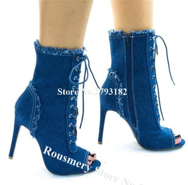 Western Fashion Peep Toe Stiletto Heel Short Gladiator Denim Boots Lace-up Blue High Heel Ankle Booties Motorcycle Boots