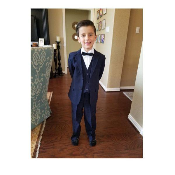 Dark Blue Boys Tuxedos Two Button Notch Lapel Children Wedding Suits Kids Formal Wear For Party (Jacket+Pants+Bow+Vest)