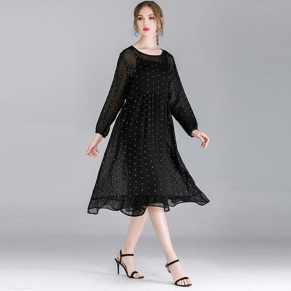 Grasso mm donne di grandi dimensioni 2019 autunno nuova moda allentata in argento moda abito in chiffon a due pezzi F240