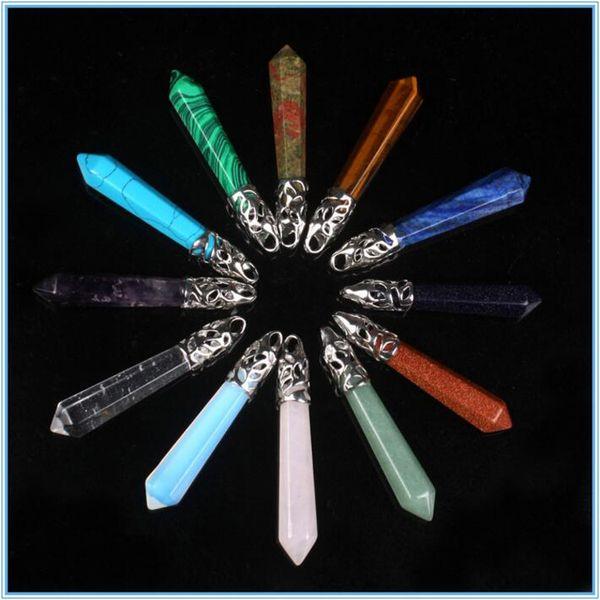 Kolyeler Altıgen Prizma Taş Kaya Doğal Kristal Kuvars Şifa Noktası Çakra Taş Charms Zincirler Kadınlar için Kolye Kolyeler