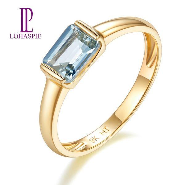 Pierre précieuse naturelle aigue-marine or jaune bague de fiançailles solide 9 k Fine bijoux en pierre de mode pour le cadeau des femmes Lohaspie New Y19052301