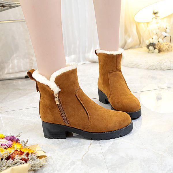 Heels Zipper Großhandel Square Plateauschuhe Stiefel Mode Frauen Winter Von Für 2018 New Schwarze Stiefeletten Flock Low Heels Warme Damen GLqSVzUMp