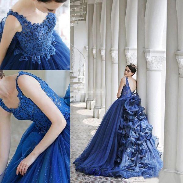 2019 Neue Abendkleider Backless V-ausschnitt Spitze Rüsche Perlen Organza Ballkleid Quinceanera Kleider Prom Party Kleider