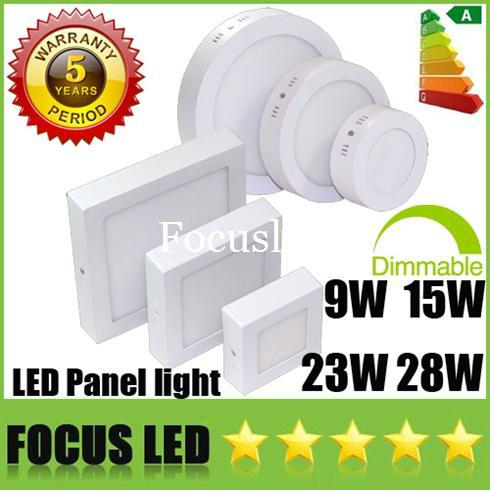 Surface Mounted 9W 15W 23W 28W Round / Square LED Panel Lights CREE Dimmable Downlights Fixture Recessed Ceiling Down Lights Freeshipping