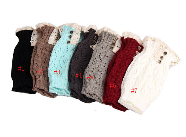 Warme Dame Mädchen Trendy gestrickte Knopf Spitze Topper Beinlinge Trim Boot Manschetten Socken Neue Frauen Legging Crochet Sock JH16-S05