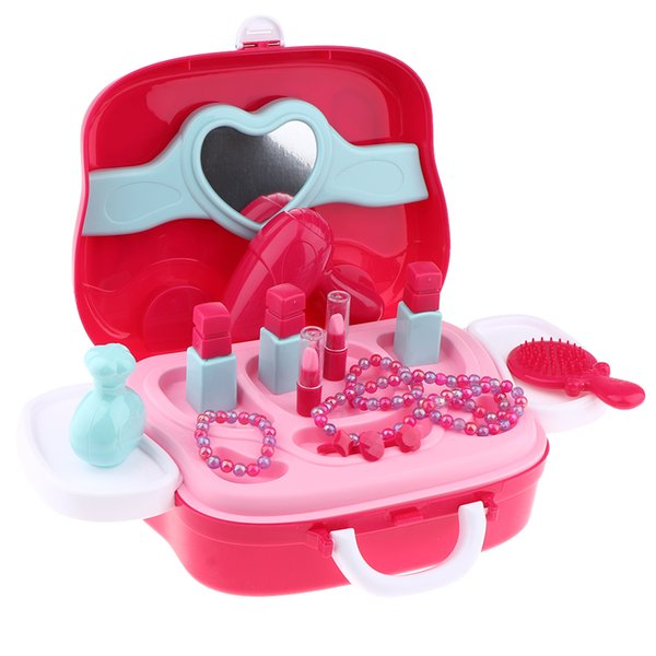 top popular Children Pretend Play Cosmetic and Makeup Toy Set, Makeup Kit Cosmetic Case Playset, Carrying Box Girls Princess Fashion Toys 2021