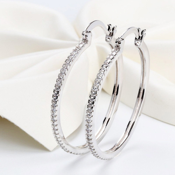 best selling High quality 925 Sterling Silver Big Hoop Earring Full CZ Diamond Fashion bad girl Jewelry Party Earrings