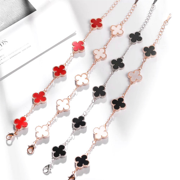 Popular Four Clover Leaf Fashionable Designer Luxury Bracelet Bangles For Women Girls Austria Crystal Rhinestone Inlaid