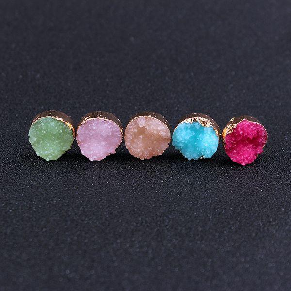 Moda 12mm imitar Drusy Druzy Brincos Banhado A Ouro Doces Gemstone Imitação Pedra Natural Brincos para As Mulheres Senhora Jóias