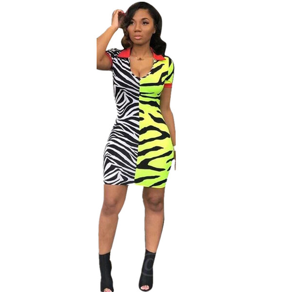 European and American sexy African dress contrast color digital print dress