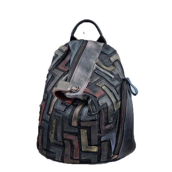 top popular Anti-theft Genuine Leather Vintage Backpack Women Retro Chic Patchwork Daily Knapsack Female Natural Leather Feminine Packsack 2020