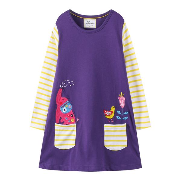 Pocket Striped Floral Animal vetements pour enfants Kids Girls Dress Children Girls Knee-length A-line Cotton Baby Girls Dress INS