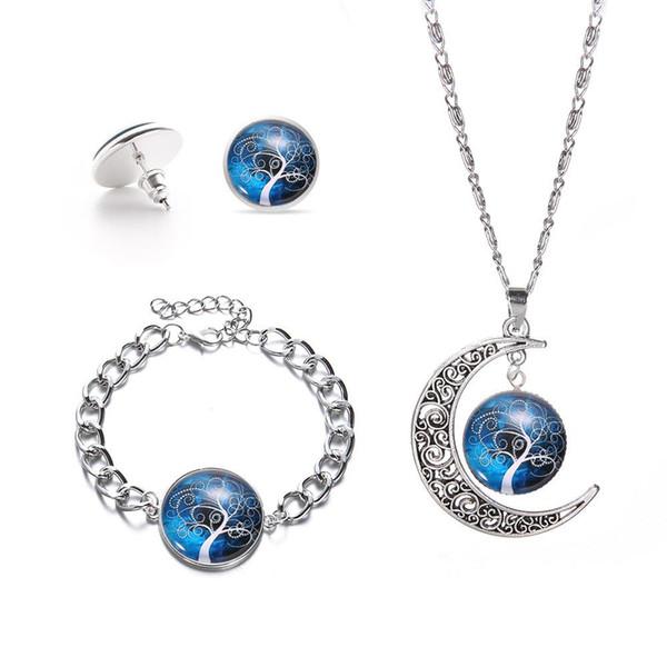 collier ensemble de bijoux en verre cadeau de mariage arbre de vie cabochon en verre collier boucles d'oreilles et bracelet ensemble de bijoux de fête