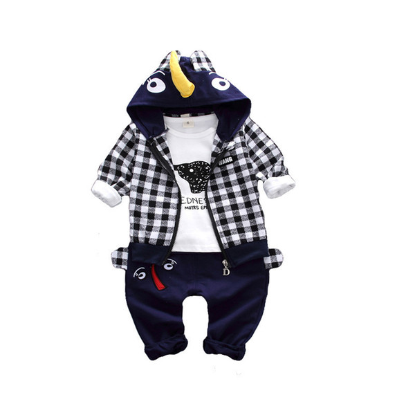 Autumn Baby Girl Boy Clothes Sets Infant Cotton Cartoon Elephant Modeling Hoodie Jacket T Shirt Pants Casual Kids Children Suits