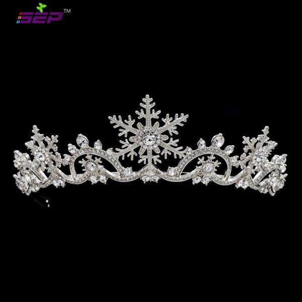 Real Austrian Crystals Women Princess Snowflake Tiara Crown Bridal Wedding Christmas Hair Jewelry Accessories SHA8756 C18112001