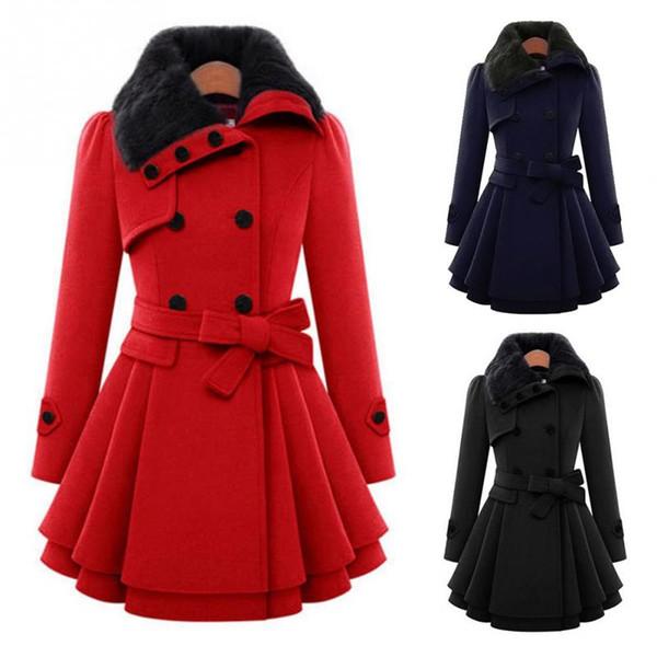 Inverno Moda Donna Casual doppio petto lana spessa A-line cappotto abbottonato giacca collo alto con cintura
