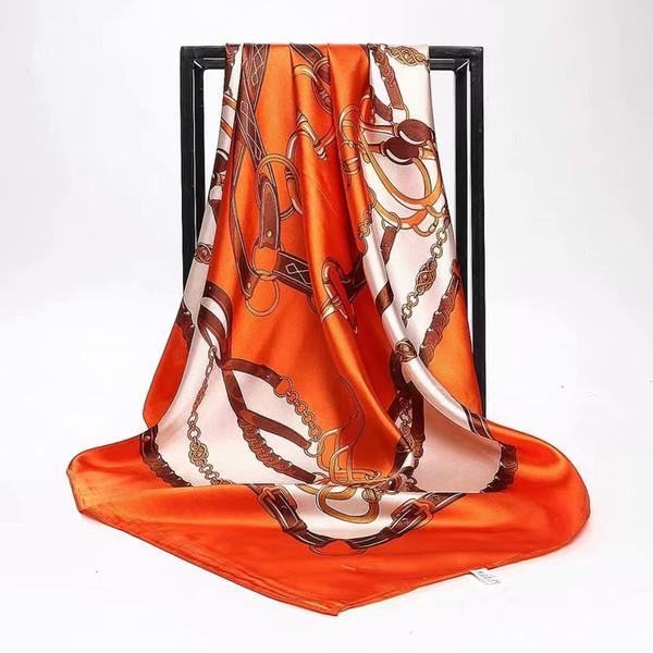 Mulheres verão Cachecol De Seda De Impressão Foulard Cetim Quadrado Cabeça Cachecóis Mulheres Designer De Luxo Xales 90 * 90 cm Bandana Grande Hijab Muçulmano JHG051