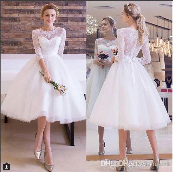 Elegant White Lace Tulle Short Tea Length Wedding Dresses Short Sleeves 2019 Vintage Wedding Gowns Nigeria