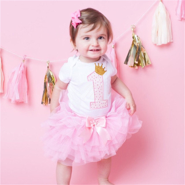 One Year Birthday Dress for Girls Infant Baby Girl Outfits (Romper+Headband+tutu dress ) Newborn Baby Girl Birthday Sets 0-12M